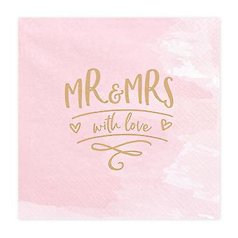 'Mr & Mrs with Love' Pink Paper Wedding Napkins x 20