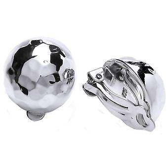 Cavendish French Hammered Ball Clip Earrings - Silver
