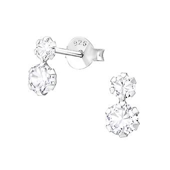 Round - 925 Sterling Silver Cubic Zirconia Ear Studs - W37761x