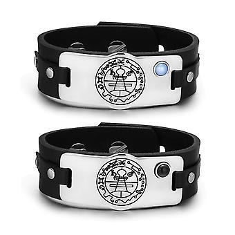 Hemmelig riksvåpen Salomo amuletter kjærlighet par blå simulert katter øye simulert Onyx armbånd
