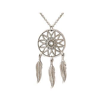 Gemshine - dream catcher necklace - silver plated - pendant - boho - spring - 75 cm