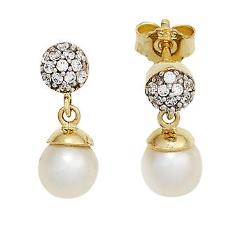 Pearl Stud Earrings 333 yellow gold part rhodium plated 2 freshwater pearls with cubic zirconia earrings