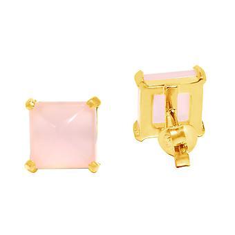 Ohrringe - 925 Silber Vergoldet - Chalcedon - Rosa - 10 mm Damenohrringe