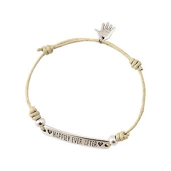 Women - bracelet - engraved - HAPPILY EVER AFTER - silver - nude