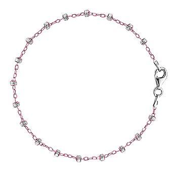 Saturn color rosa y blanco Cable estilo cadena tobillera de plata de ley