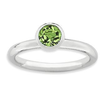 Sterling Silber Lünette poliert rhodiniert stapelbar Ausdrücke hoch 5mm August Kristall Ring - Ring-Größe: 5 bis 10