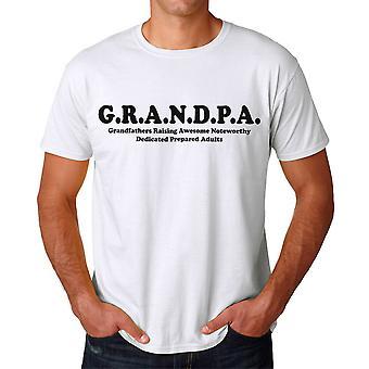 Grandpa Grandfathers Raising Awesome Adults Graphic Men's White T-shirt