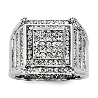 925 Sterling Silver Pave Rhodium-plated and Cubic Zirconia Brilliant Embers Mens Ring - Ring Size: 9 to 11