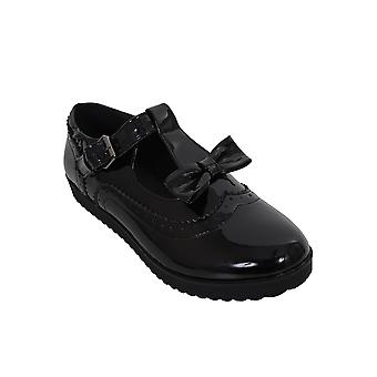 Ladies Patent Bow T Strap Buckle School Work Smart Flat Dolly Brogues Shoes