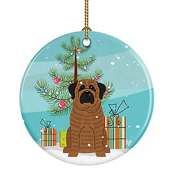 Merry Christmas Tree Mastiff Brindle keramiske Ornament