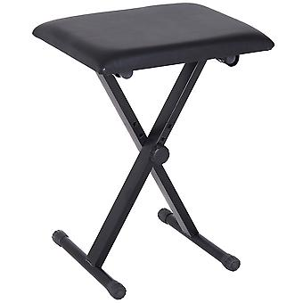 HOMCOM Foldable Keyboard Stool Padded Seat X Frame Chair Adjustable Height Piano Bench Black