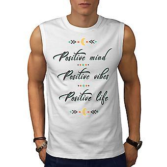 Positive Mind Men WhiteSleeveless T-shirt | Wellcoda