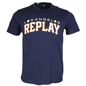 Replay rund hals tryckt Logo Navy T-shirt