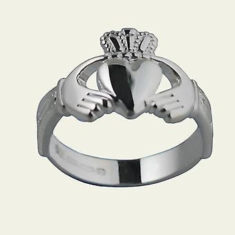 Nodo di Trinity 12mm argento spalla ladies Claddagh Ring Size Q