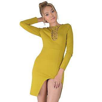 LMS Mustard Yellow Bodycon Dress With Lace Neckline And Split hem