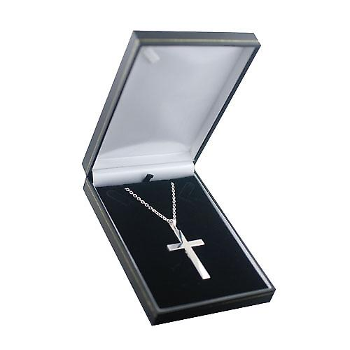 Silver 55x33mm hand engraved solid block Cross with bail on a cable Chain 22 inches