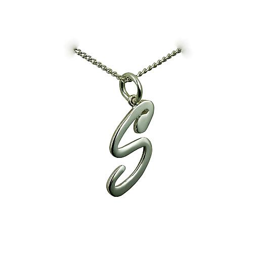 Silver 26x11mm plain Palace script Initial S Pendant with a curb Chain 20 inches