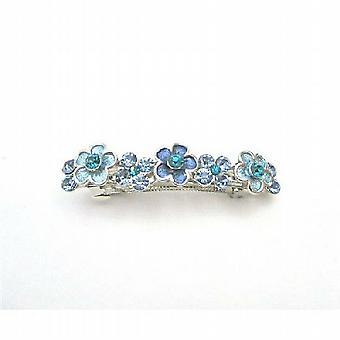 Filigree Blue Barrette Aquamarine Crystals Light & Dark Barrette