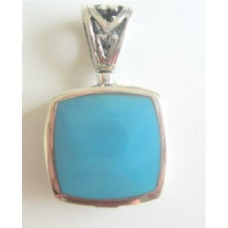 Flat Square Inlay Turquoise Stone Sterling Silver Pendant
