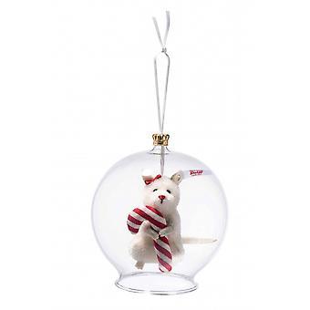 Steiff glas bulb med mus med polkagris ornament 8 cm