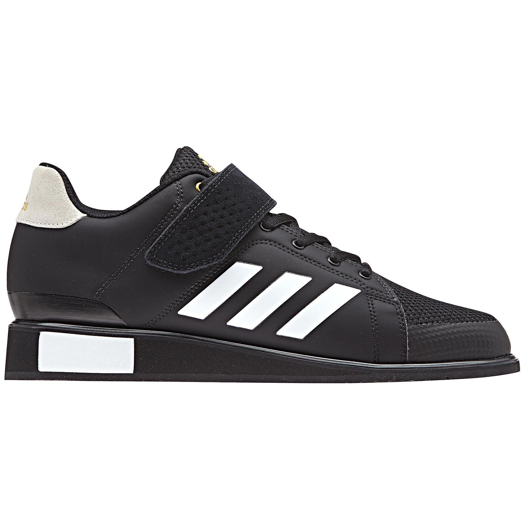 Adidas Power parfait III Mens adultes haltérophilie force athlétique chaussure noir blanc