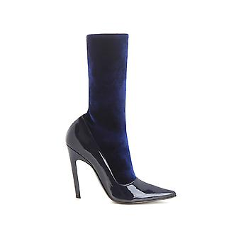 Balenciaga Blue Patent Leather Ankle Boots