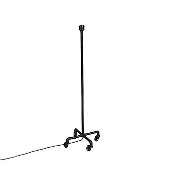 QAZQA Industrial mobile floor lamp black without shade - Wheels