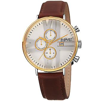 August Steiner AS8212YGWT 24 Hour Counter Date Genuine Leather Strap