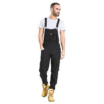 Mens black dungarees with roll up leg