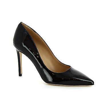 Pompes à talons hauts à la main de Leonardo Chaussures femmes en cuir verni noir