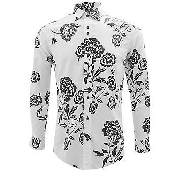 Guide London Big Blue Flower Print Pure Cotton Long Sleeve Mens Shirt