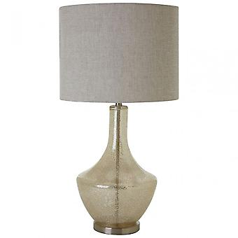 Premier Home Luca Table Lamp (Eu Plug), Fabric, Glass, Cream