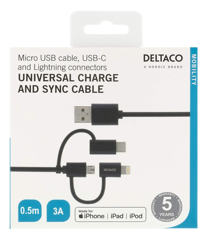 DELTACO Ström- och synkkabel, 0,5m, Micro USB, USB-C, Lightning