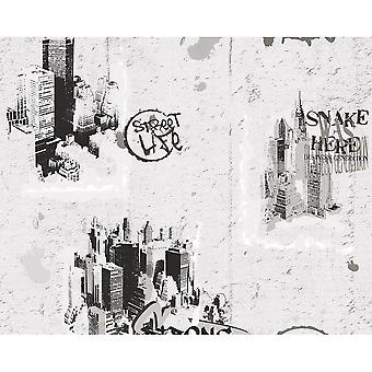 A.S. Creation AS Creation Graffiti Pattern NYC Painted Teenager Childrens Wallpaper 684011
