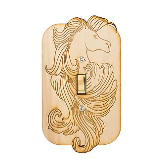 Fancy pony single switch plate - raw wood - 3.8x6.5