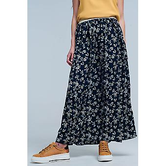 Long navy skirt with floral pattern
