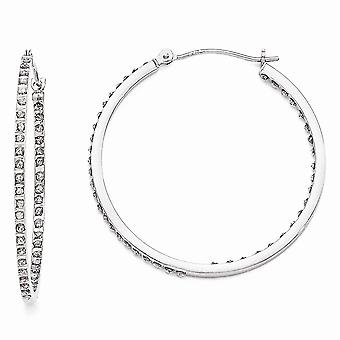 14k White Gold Polished Diamond Fascination Round Hinged Hoop Earrings - .01 dwt - Measures 36x2mm