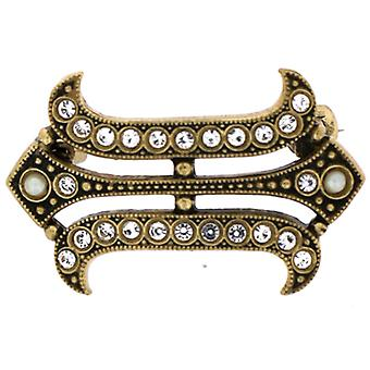 Cavendish French Georgian Crystal and Pearl Pinchbeck Gold Brooch