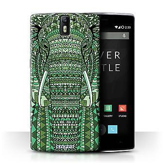 STUFF4 Tilfelle/Cover for OnePlus en/elefant-Green/Aztec dyr