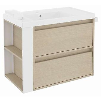 Bath+ Sink cabinet 2 Drawers With Resin Oak-White 80CM