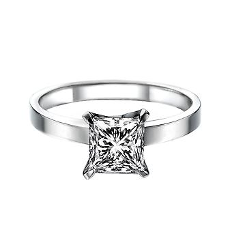 1 quilate F VS2 diamante anel de noivado 14K ouro branco Solitaire 4 Prongs princesa