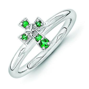 2.25mm Sterling Silver Stackable Expressions Rhodium Created Emerald Cross Ring - Ring Size: 5 to 10