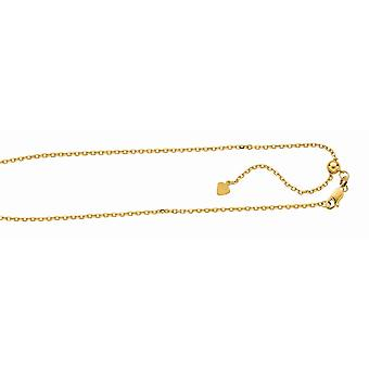 Sterling Silver Gold-Flashed Finish 1.5mm Sparkle-Cut Adjustable Cable Chain Lobster Clasp Anklet