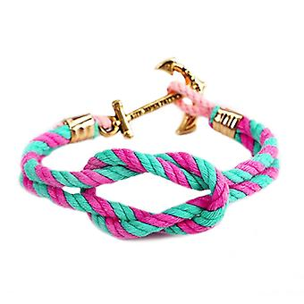 Kiel James Patrick Maddy Palm hammock anchor node bracelet pink turquoise