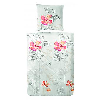 COCK Percale sengelinned blomster orange 135 x 200 cm