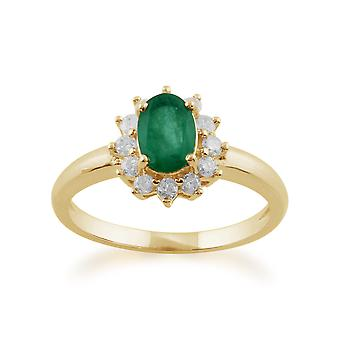 Gemondo 9ct Yellow Gold 0.83ct Emerald & Diamond Oval Cluster Ring