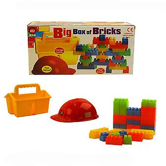 A til Z Big Box af mursten med Over 30 Duplo stil mursten Plus hjelm & Caddy
