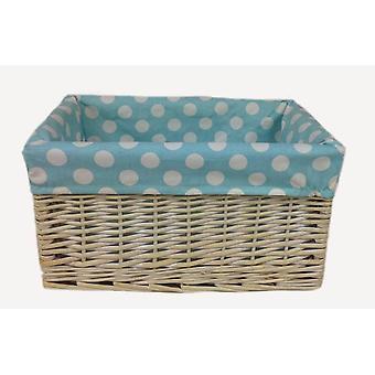 Blue Spotty Lined Wicker Open Storage Basket Large