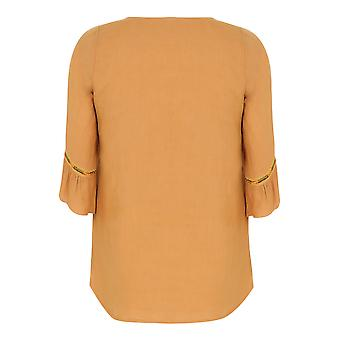 PAPRIKA Mustard Yellow Smock Top With Embroidered Neckline