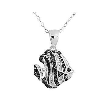 Fish Pendant Necklace with Diamond Accent in Sterling Silver with Chain